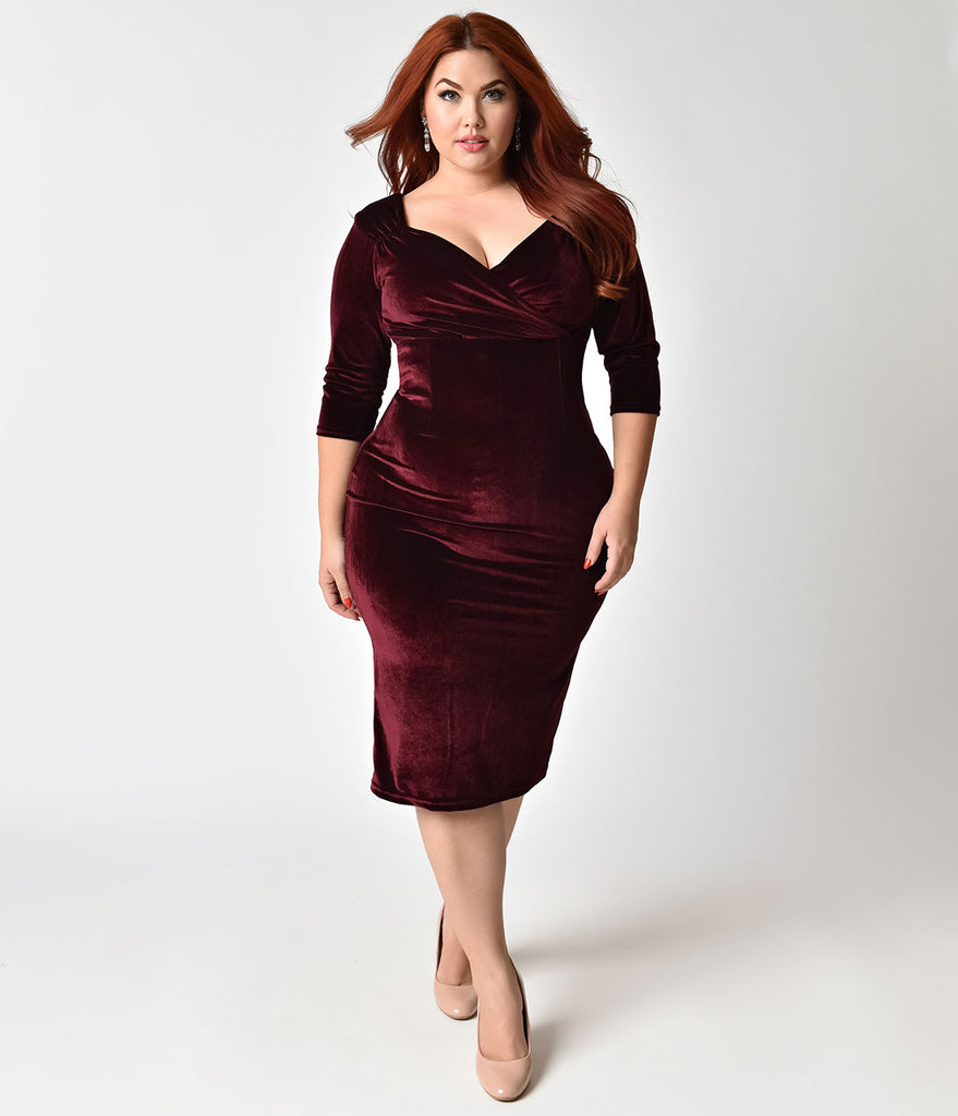 Burgundy plus size cocktail dresses