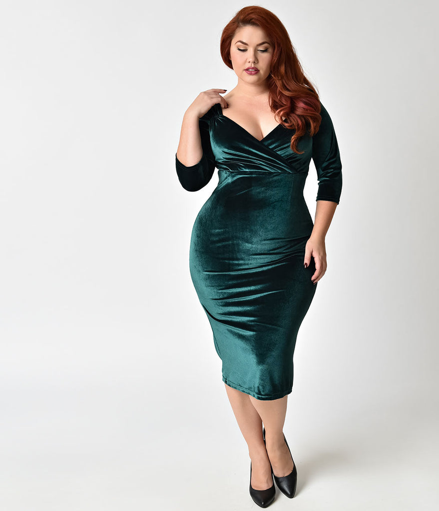Steady Plus Size 1950s Forest Green Velvet Sleeved Diva Cocktail ...