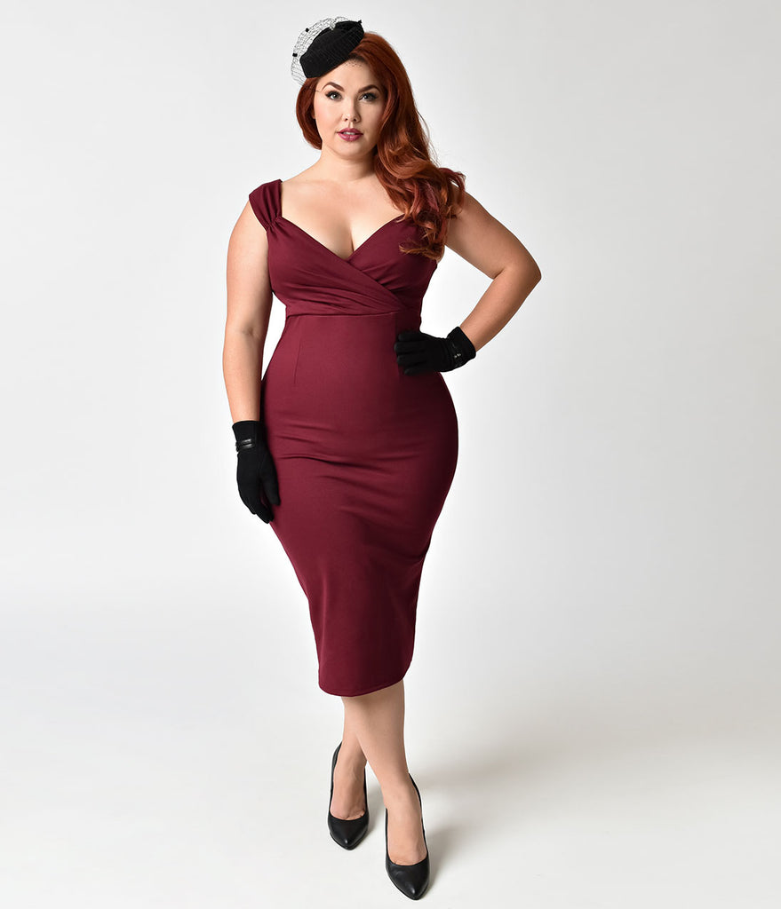 Steady Plus Size 1950s Wine Red Stretch Verona Diva Cocktail Wiggle Dress
