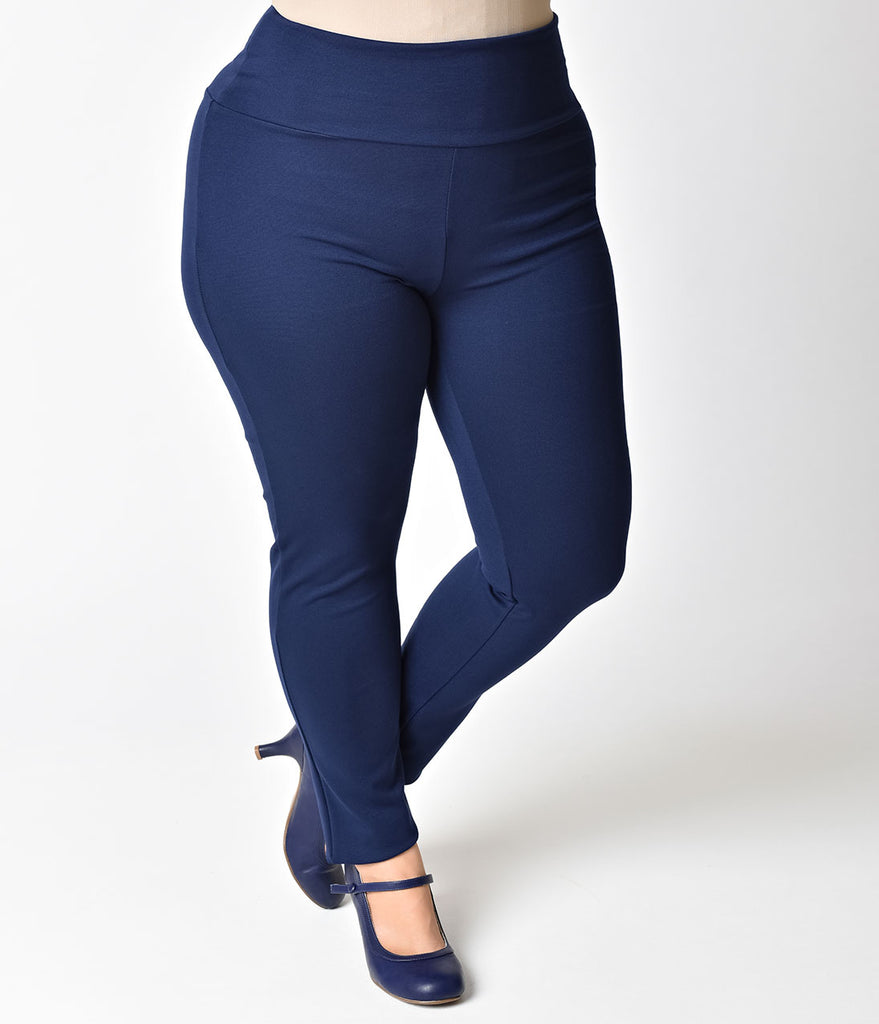 Steady Plus Size Retro Navy High Waist Cigarette Stretch Audrey Leggings