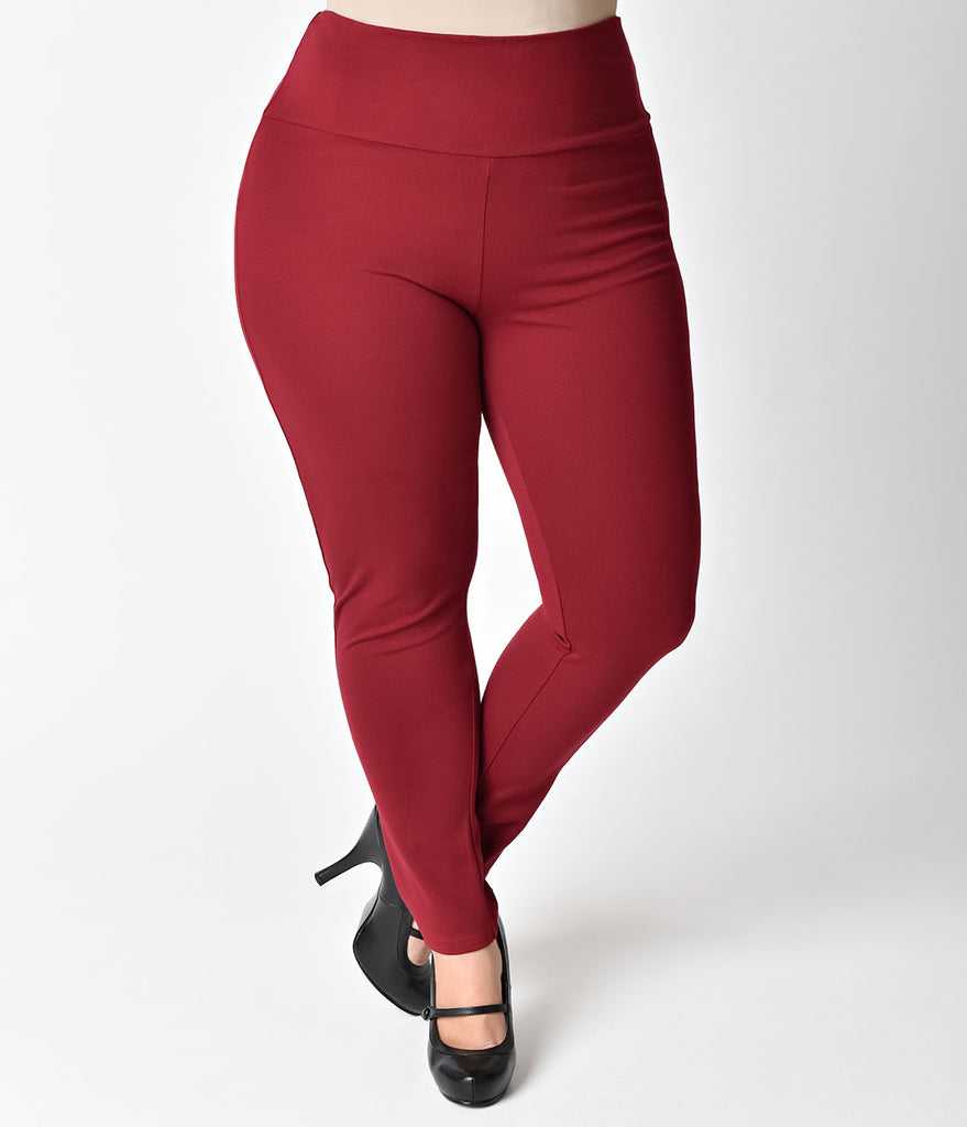 Steady Plus Size Retro Red High Waist Cigarette Stretch Audrey Leggings