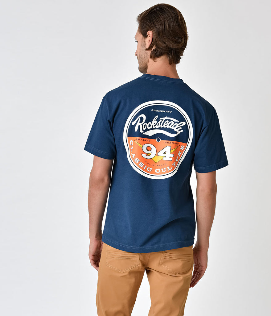 Steady Retro Blue Vinyl Label Mens Classic Cotton Tee