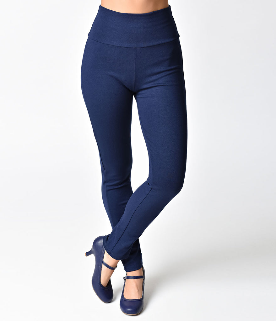 Steady Retro Navy High Waist Cigarette Stretch Audrey Leggings