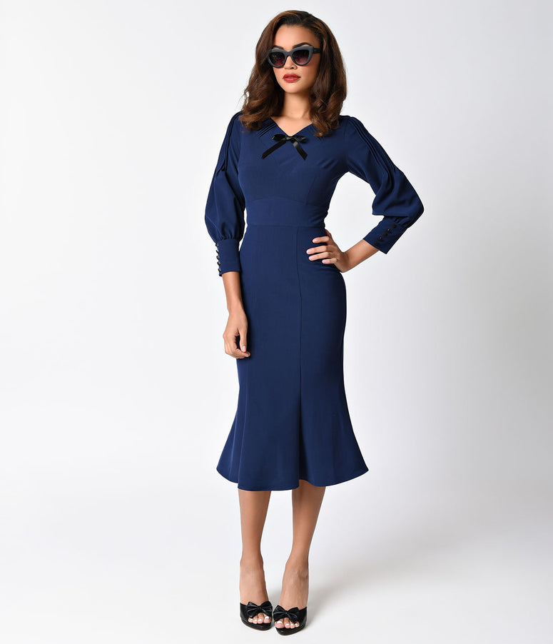 Stop Staring! 1930s Style Navy Blue Knit Long Sleeve Wiggle Dress