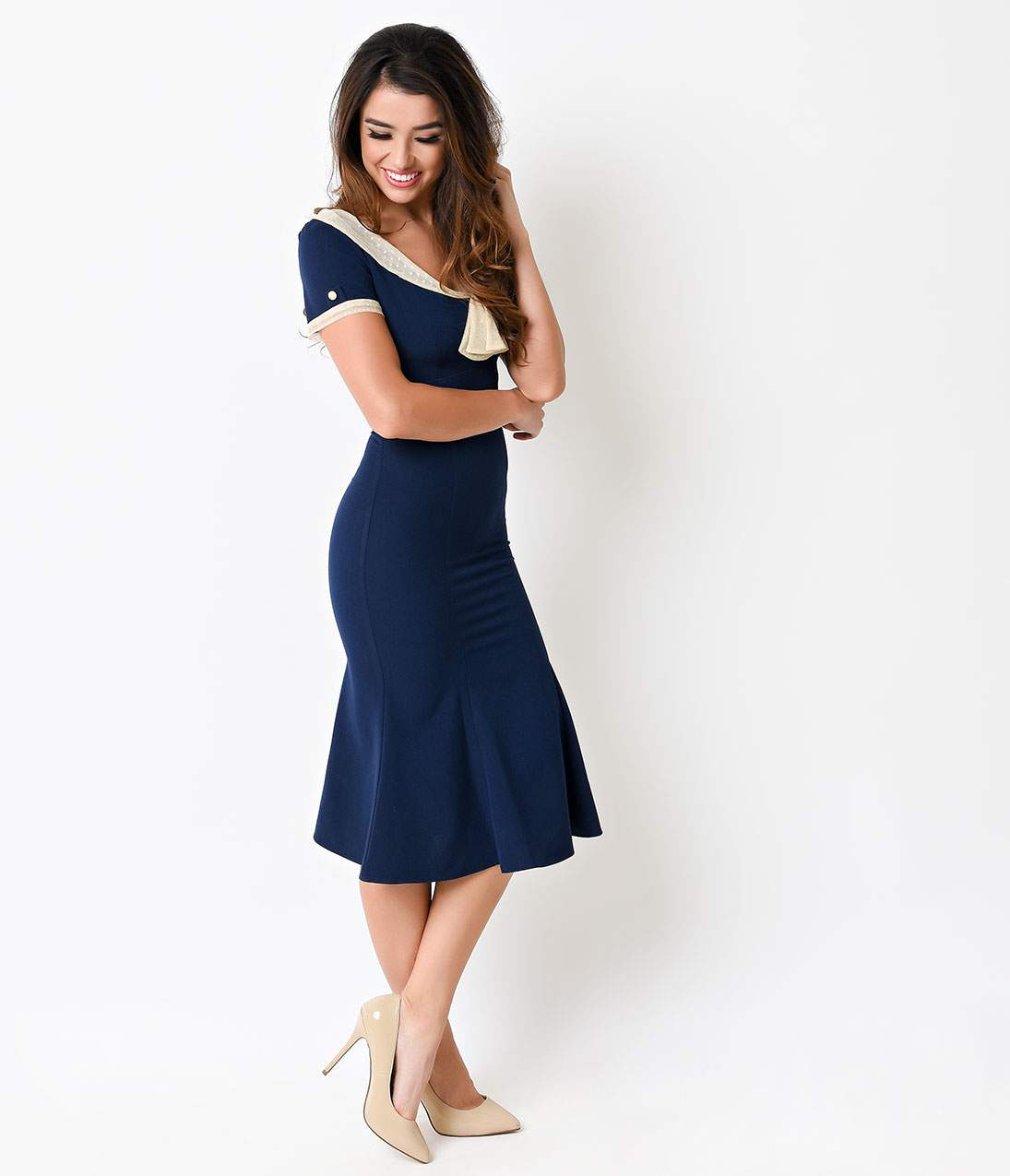 Swing Dance Clothing You Can Dance In Stop Staring 1930S Navy  Ivory Lace Cap Sleeve Railene Dress $168.00 AT vintagedancer.com