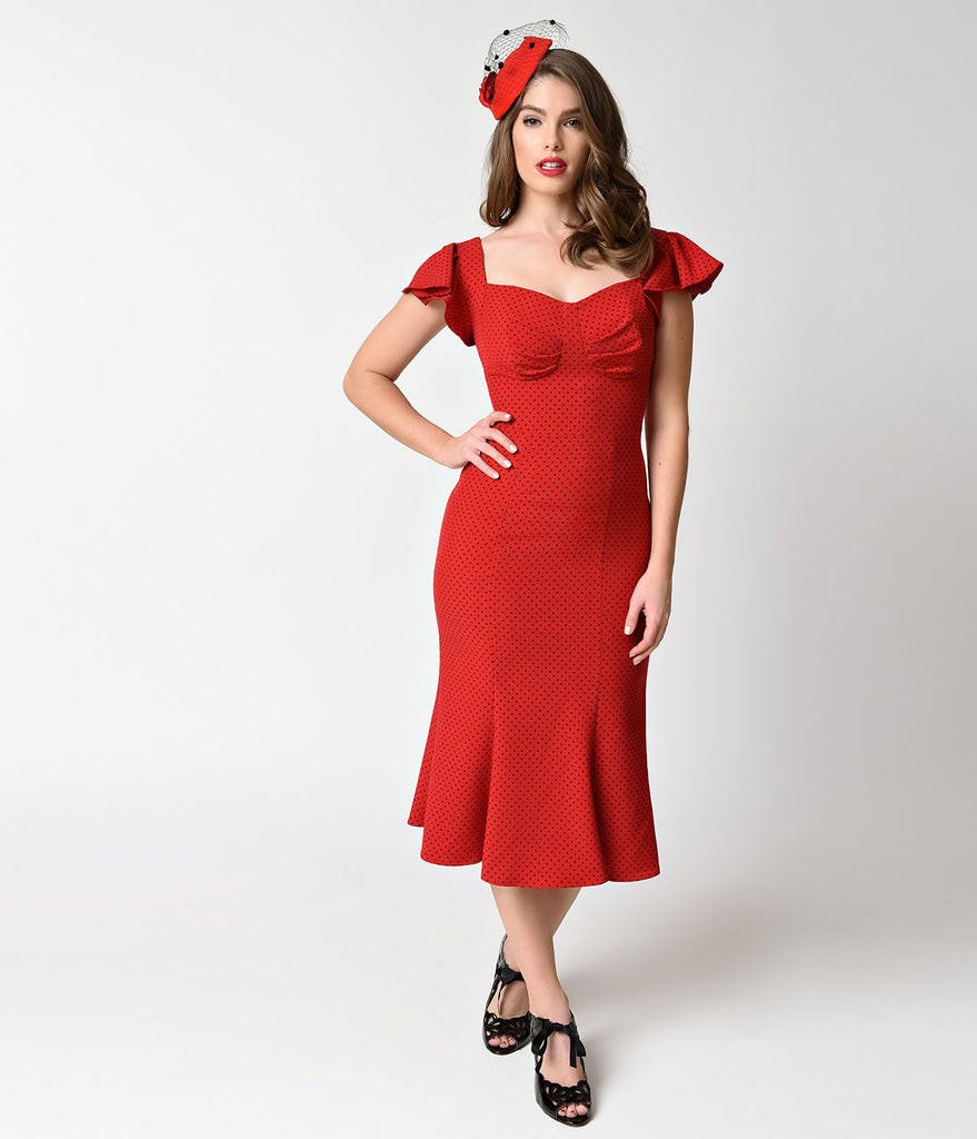 Red and Black Cocktail Dresses with Sleeve