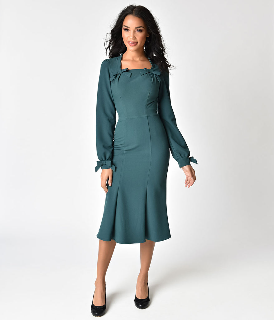 Stop Staring! 1940s Style Forest Green Michealina Dress