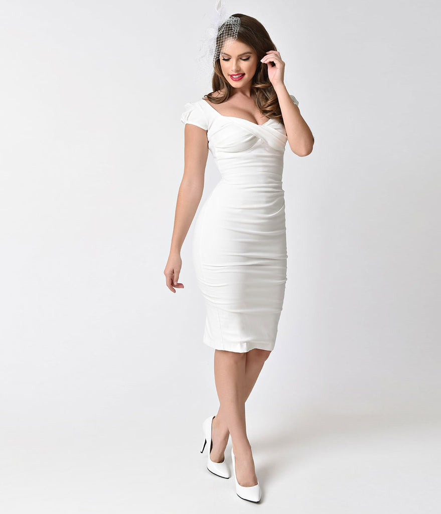 Stop Staring! 1940s Style White Billion Dollar Baby Wiggle Dress