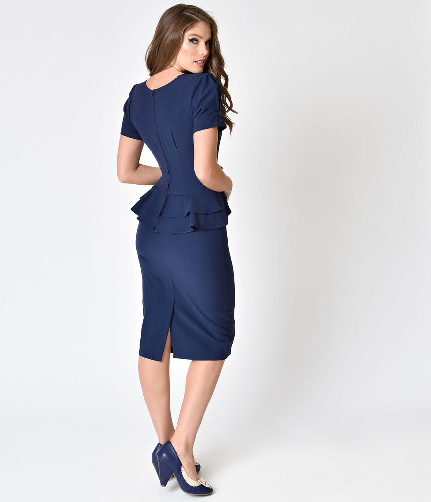 Stop Staring! 1940s Style Navy Blue Faith Wiggle Dress