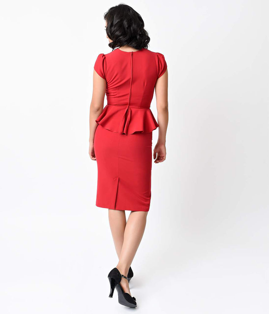 Stop Staring! 1940s Style Red Bombshell Aury Peplum Wiggle Dress
