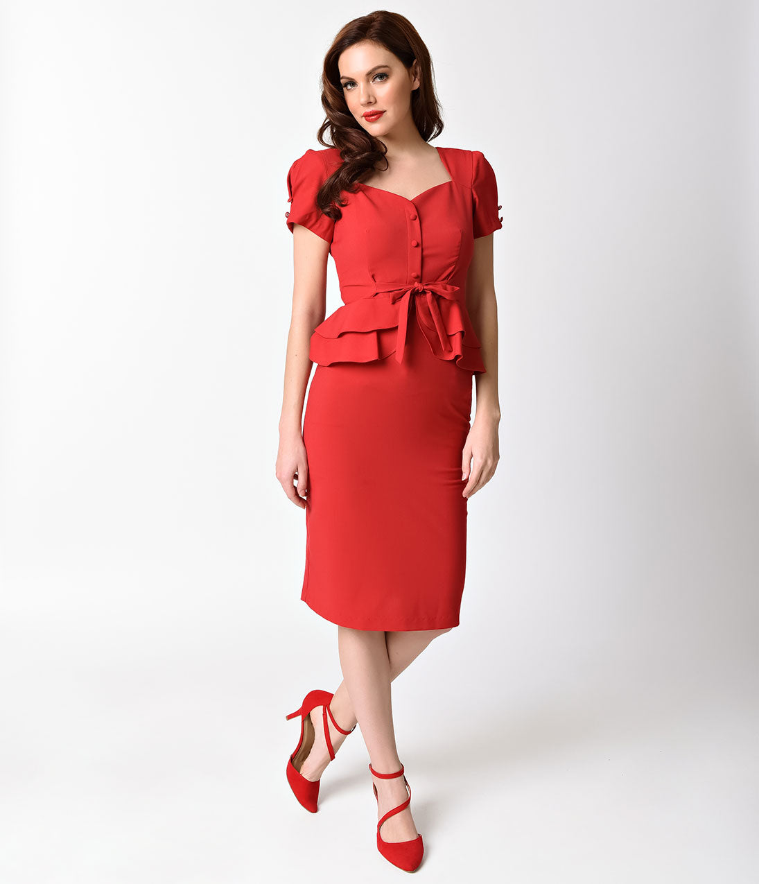 1940s Evening, Prom, Party, Cocktail Dresses & Ball Gowns Stop Staring 1940s Style Red Short Sleeve Rosemary Pencil Dress $82.00 AT vintagedancer.com