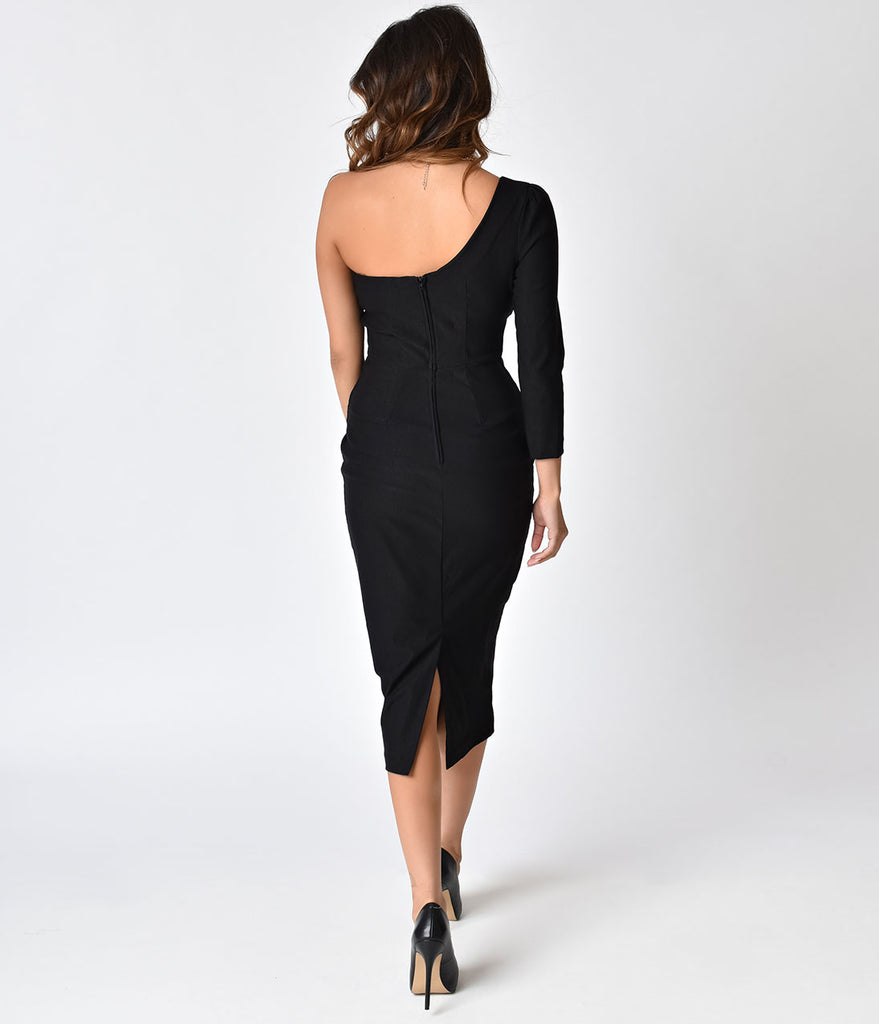 Stop Staring! 1950s Style Black One Shoulder Stretch Frenchy Wiggle Dress