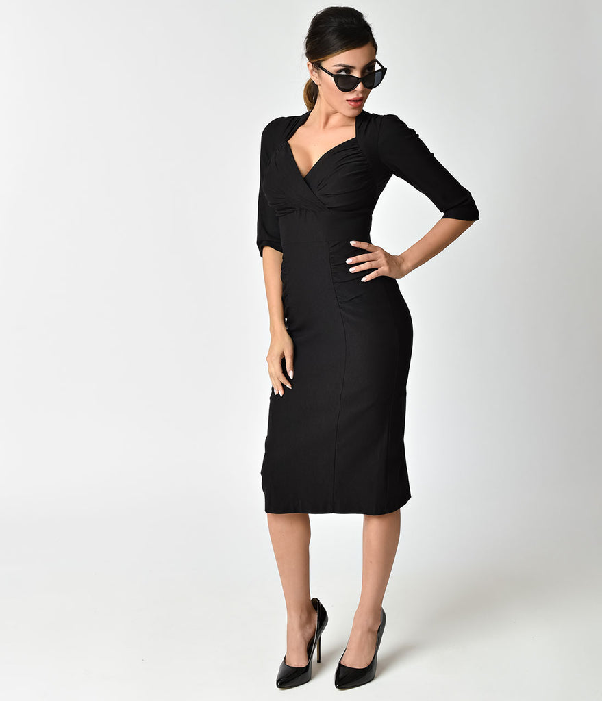 Stop Staring! 1960s Black Stretch Sleeved Loma Wiggle Dress