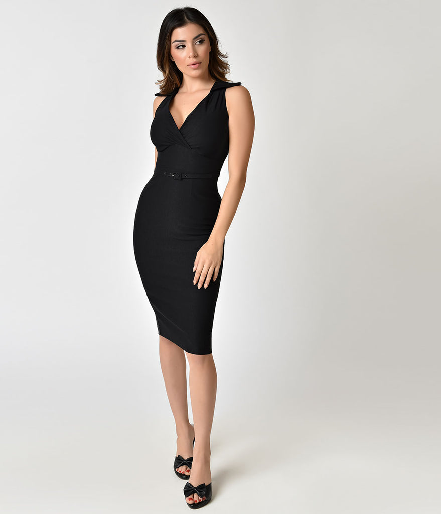 Stop Staring! Black Collared Nyla Sleeveless Wiggle Dress