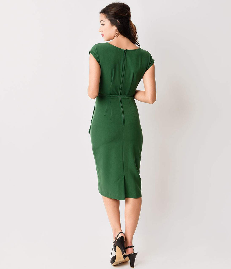 Stop Staring! 1940s Style Green Fitted Timeless Wiggle Dress