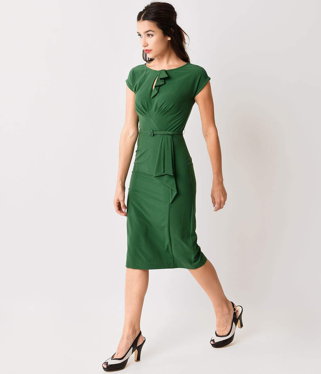 1940s Evening, Prom, Party, Cocktail Dresses & Ball Gowns Stop Staring 1940s Style Green Fitted Timeless Wiggle Dress $172.00 AT vintagedancer.com