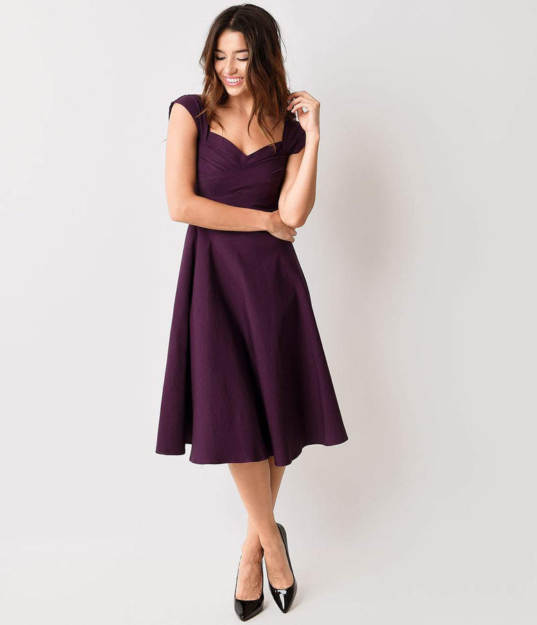 Stop Staring! Mad Style Eggplant Cap Sleeve Swing Dress
