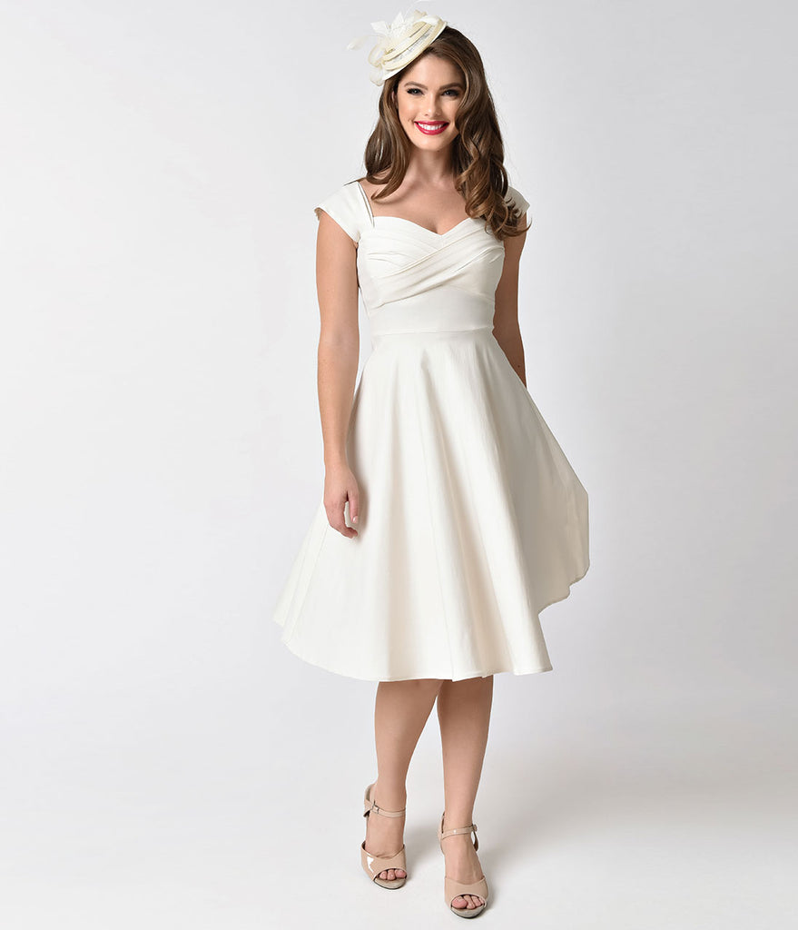 Stop Staring! Mad Style Ivory Cap Sleeve Swing Dress – Unique Vintage
