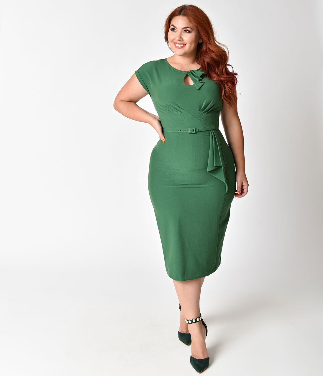 1940s Dresses | 40s Dress, Swing Dress Stop Staring Plus Size 1940S Style Green Fitted Timeless Wiggle Dress $99.00 AT vintagedancer.com
