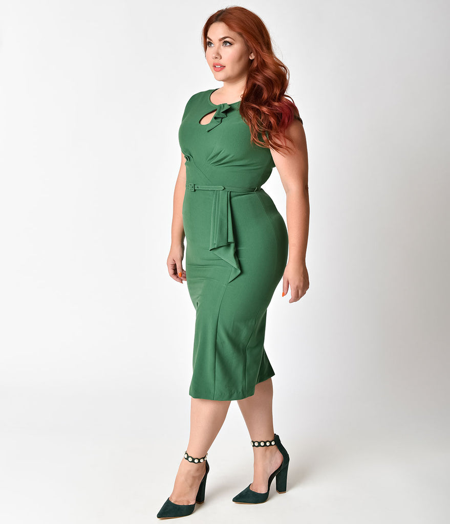 Stop Staring! Plus Size 1940s Style Green Fitted Timeless Wiggle Dress