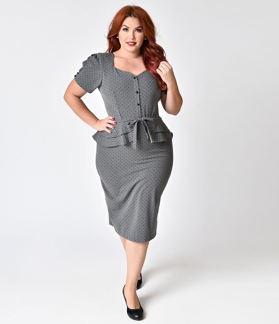 Plus Size Polka Dot Dresses – Vintage 40s, 50s, 60s Dresses Stop Staring Plus Size 1940s Style Grey  Black Polka Dot Faith Wiggle Dress $99.00 AT vintagedancer.com