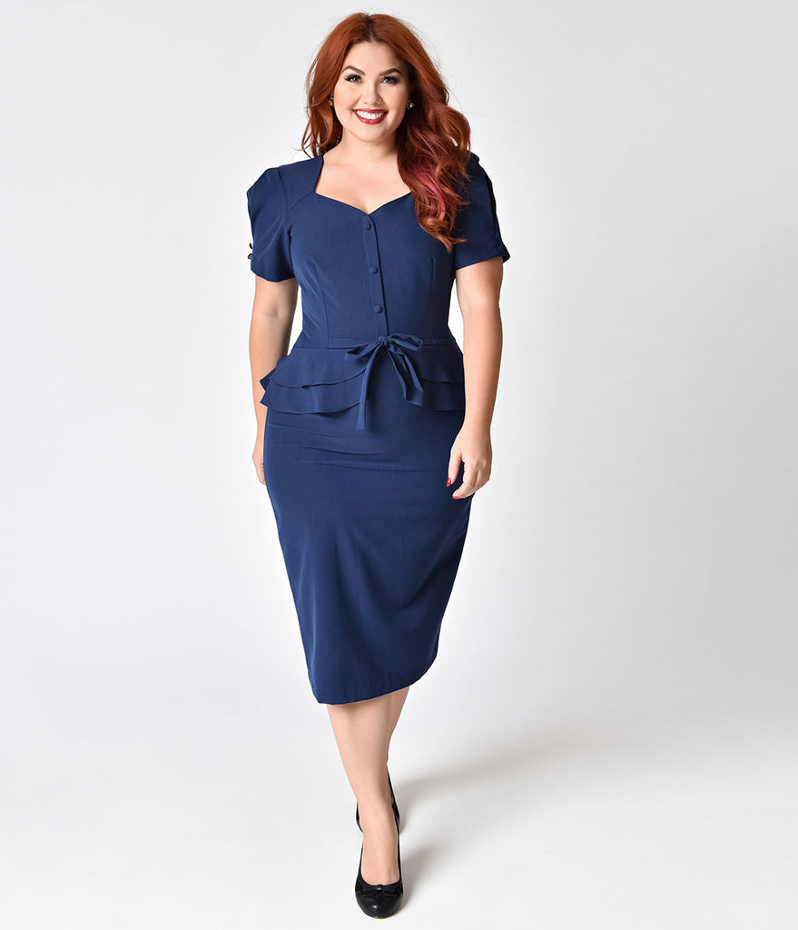 Stop Staring! Plus Size 1940s Style Navy Blue Faith Wiggle Dress
