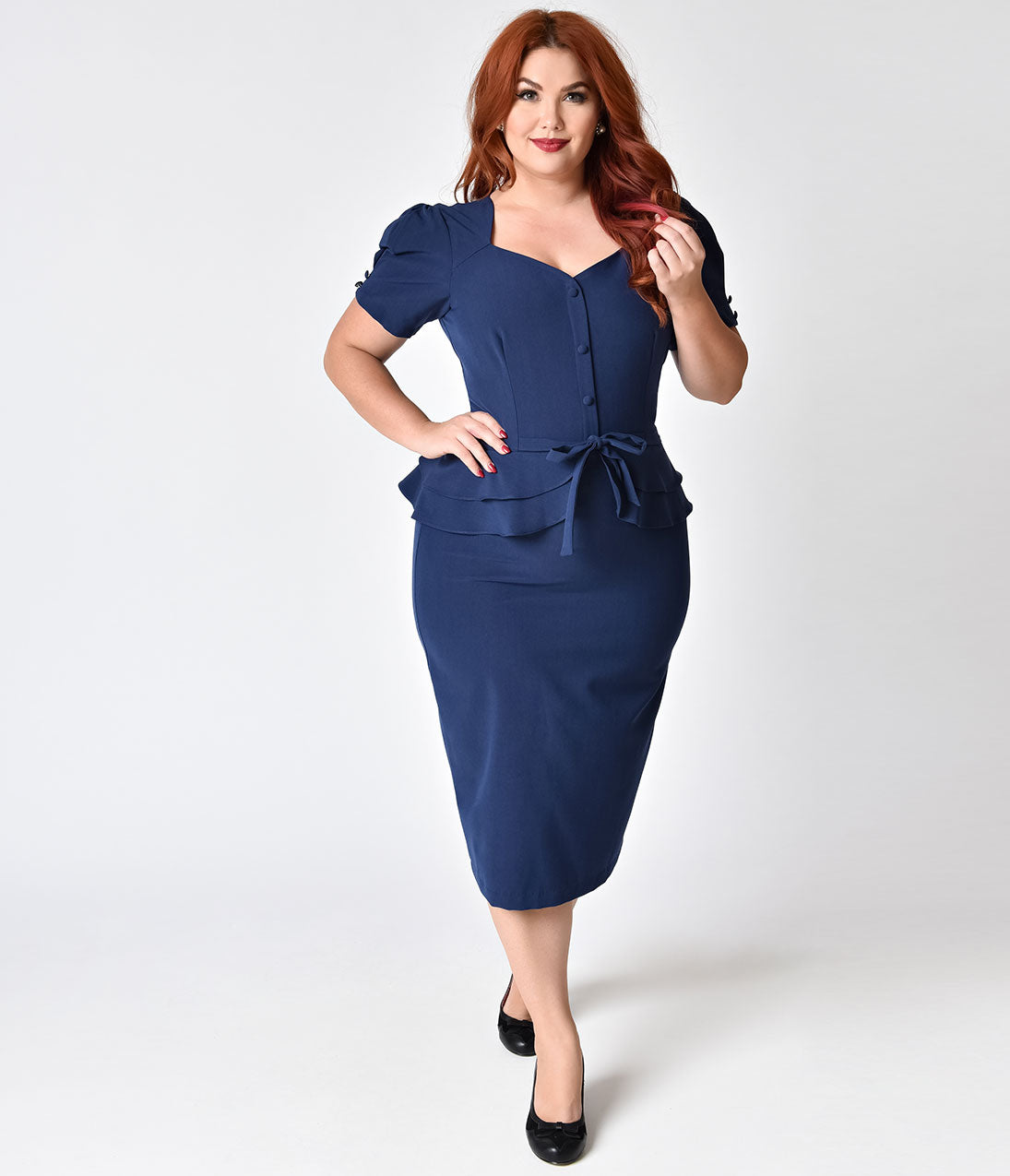 1940s Plus Size Fashion: Style Advice from 1940s to Today Stop Staring Plus Size 1940S Style Navy Blue Faith Wiggle Dress $109.00 AT vintagedancer.com