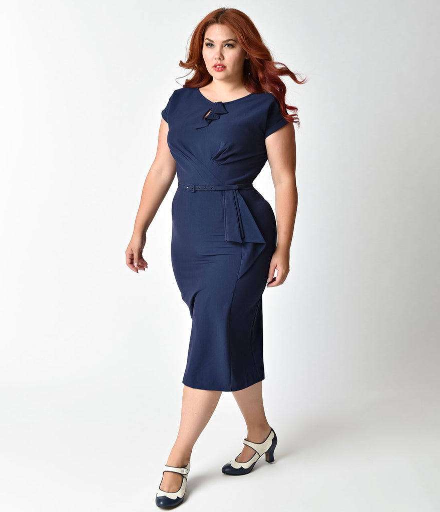 Stop Staring! Plus Size 1940s Style Navy Blue Fitted Timeless Wiggle Dress