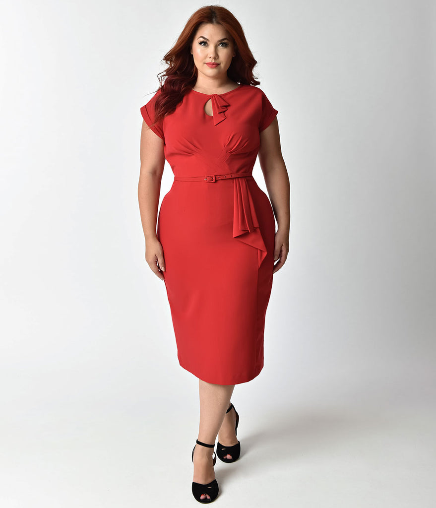 Stop Staring! Plus Size 1940s Style Red Fitted Timeless Wiggle Dress