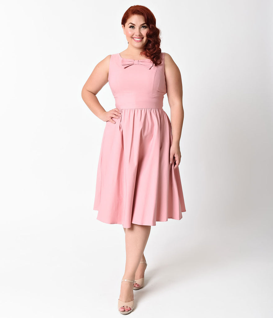 Stop Staring! Plus Size 1950s Light Pink Noely Stretch Swing Dress ...