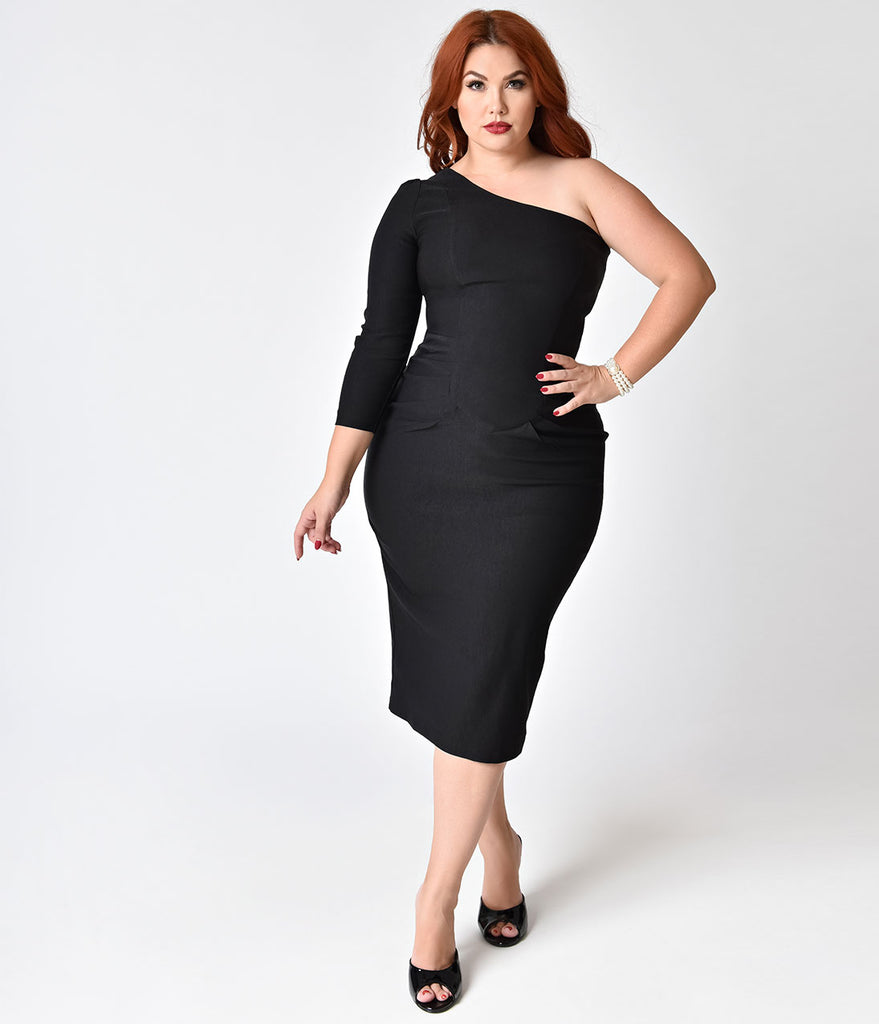 Stop Staring! Plus Size 1950s Style Black One Shoulder Stretch ...
