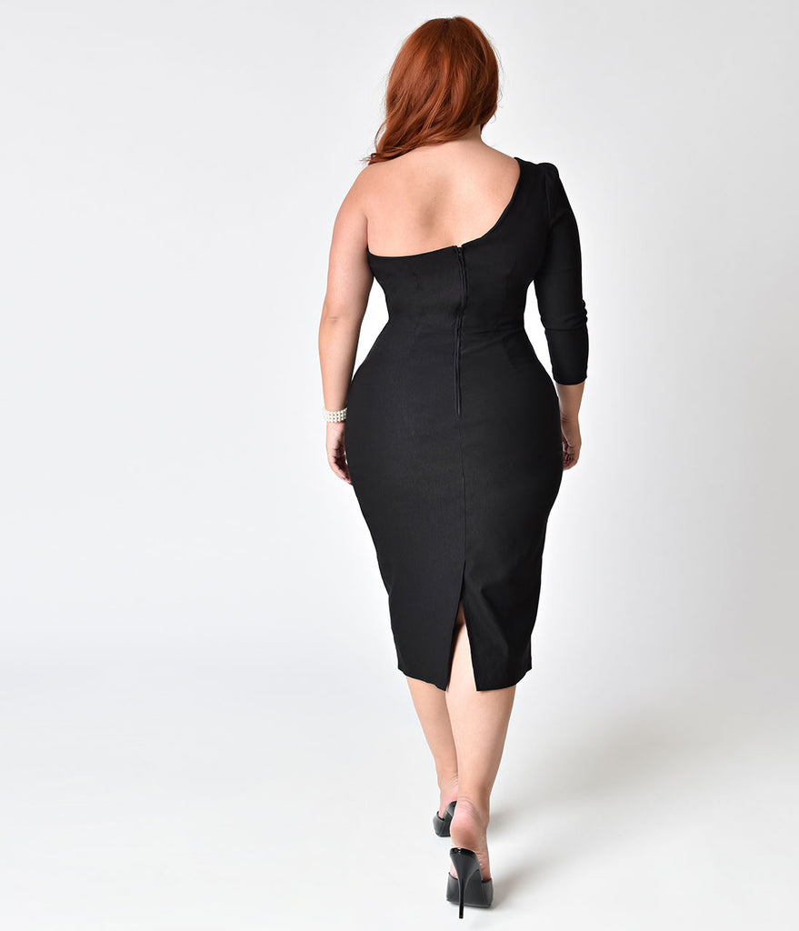 Stop Staring! Plus Size 1950s Style Black One Shoulder Stretch Frenchy Wiggle Dress