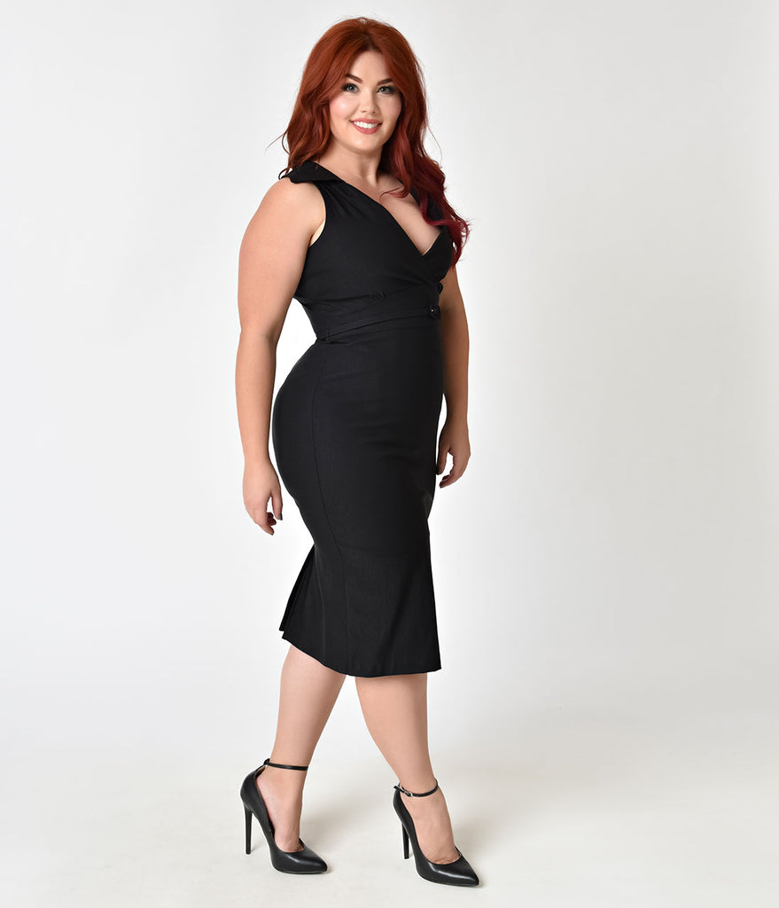 Stop Staring! Plus Size Black Collared Nyla Sleeveless Wiggle Dress