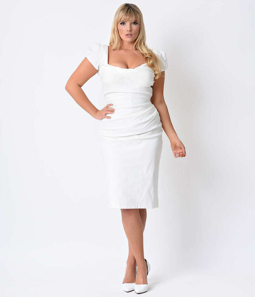 Stop Staring! Plus Size 1940s Style White Billion Dollar Baby Wiggle ...
