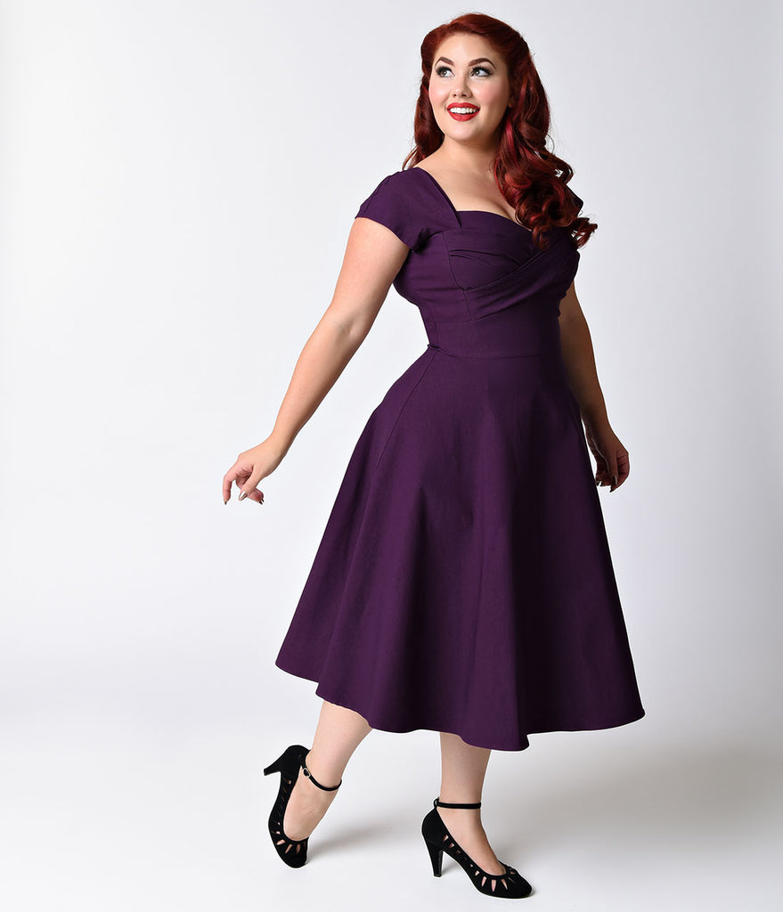 dffe249f4a40 ... Stop Staring! Plus Size Mad Style Eggplant Cap Sleeve Swing Dress ...