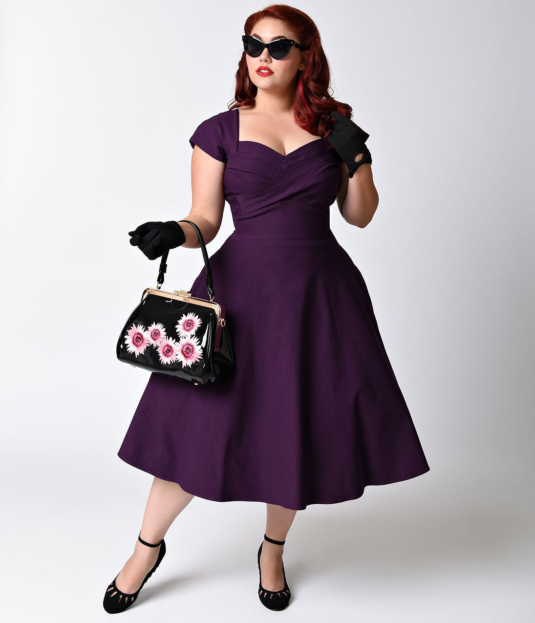 Vintage Bridesmaid Dress Ideas by Decade Stop Staring Plus Size Mad Style Eggplant Cap Sleeve Swing Dress $178.00 AT vintagedancer.com