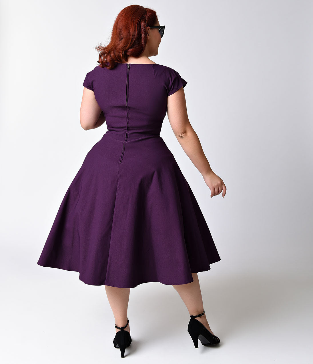 e6dcf213aae Plus Size Mad Style Eggplant Cap Sleeve Swing Dress