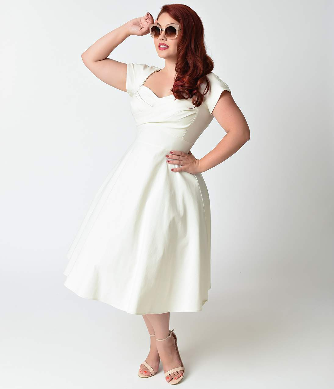 1940s Style Wedding Dresses | Classic Wedding Dresses Stop Staring Plus Size Mad Style Ivory Cap Sleeve Swing Dress $172.00 AT vintagedancer.com