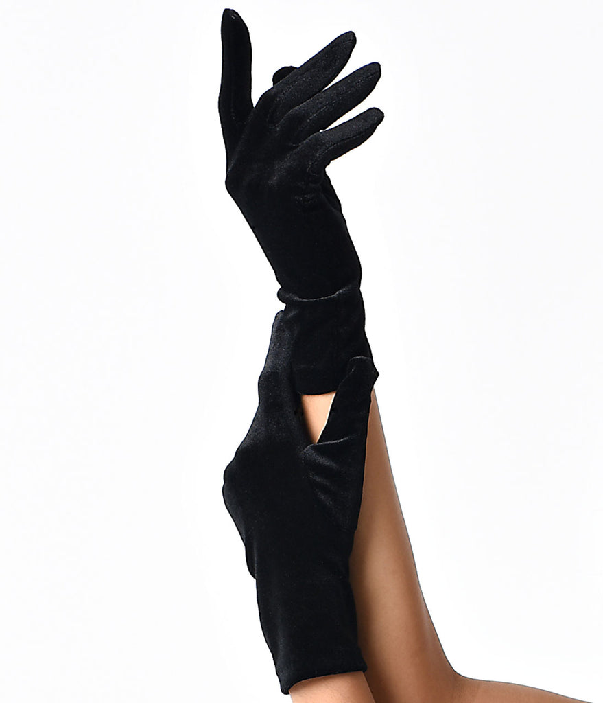 Sure Fit Black Classic Velvet Gloves