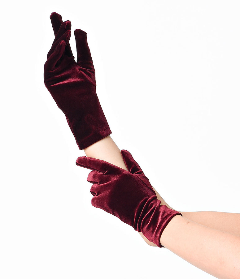 Sure Fit Wine Classic Velvet Gloves