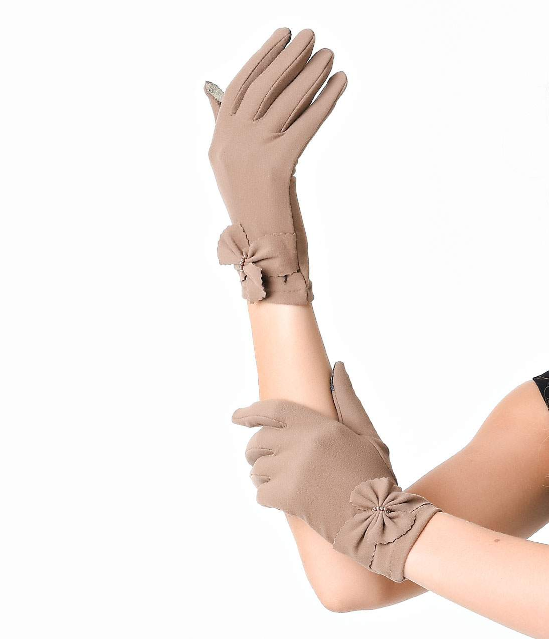 Vintage Style Gloves- Long, Wrist, Evening, Day, Leather, Lace Tan Wrist Length Zig Zag Bow Texting Gloves $18.00 AT vintagedancer.com