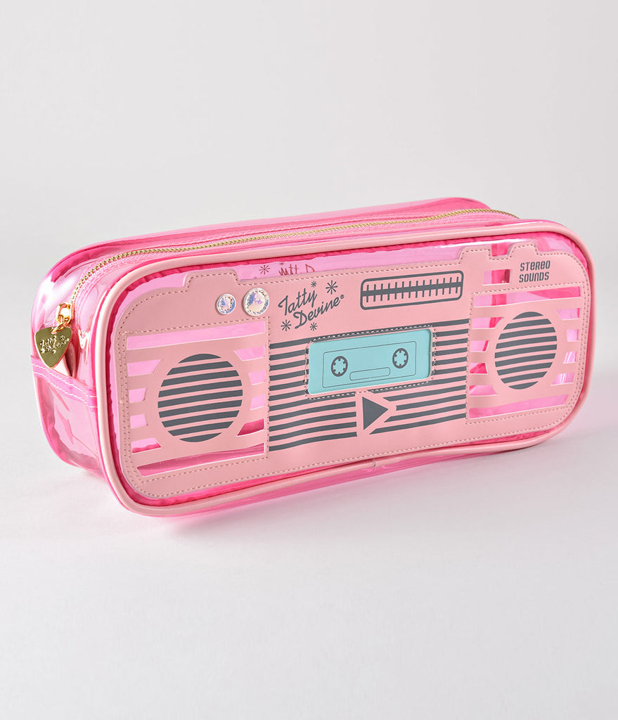 Tatty Devine Retro Style Pink Boombox Bag
