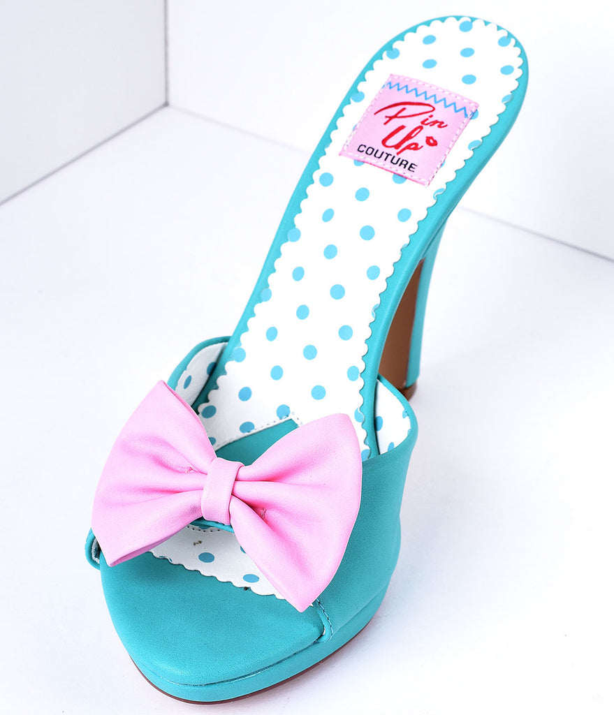 Teal & Blush Pink Bow Faux Leather Siren Peep Toe Heels
