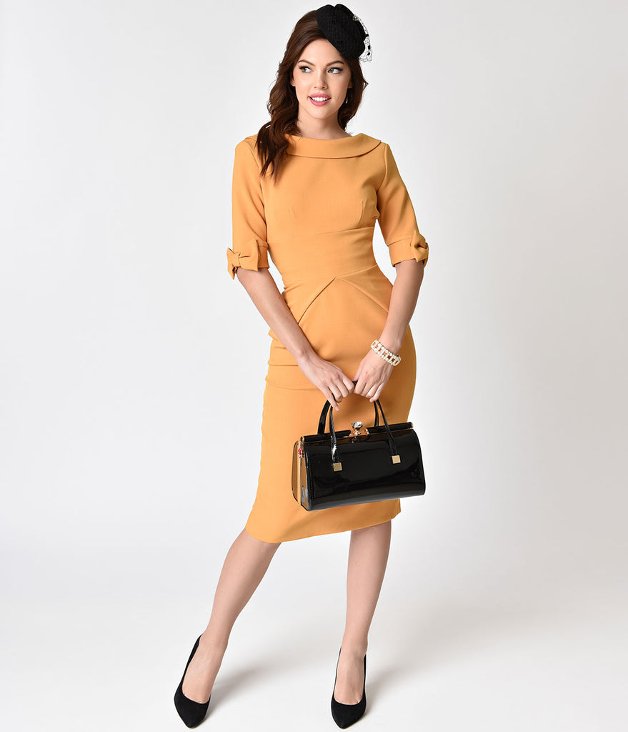 The Pretty Dress Company 1960s Mustard Sleeved Hollywood Stretch Wiggle Dress