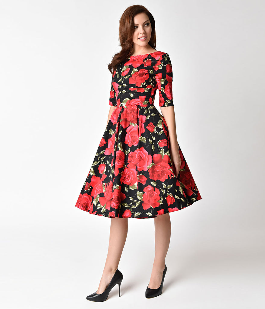 e7571dc2600 The Pretty Dress Company Black   Red Sorrento Floral Hepburn Swing Dre –  Unique Vintage