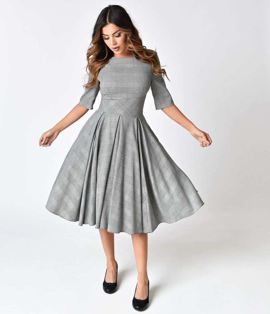 The Pretty Dress Company Black & White Prince of Wales Hepburn Swing Dress