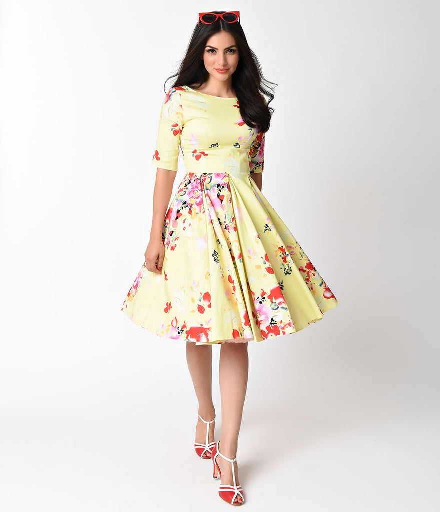 The Pretty Dress Company Lemon Seville Print Hepburn Swing Dress