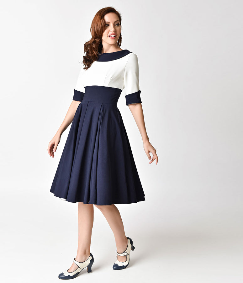 The Pretty Dress Company Navy & Ivory Half Sleeve Madison Swing Dress