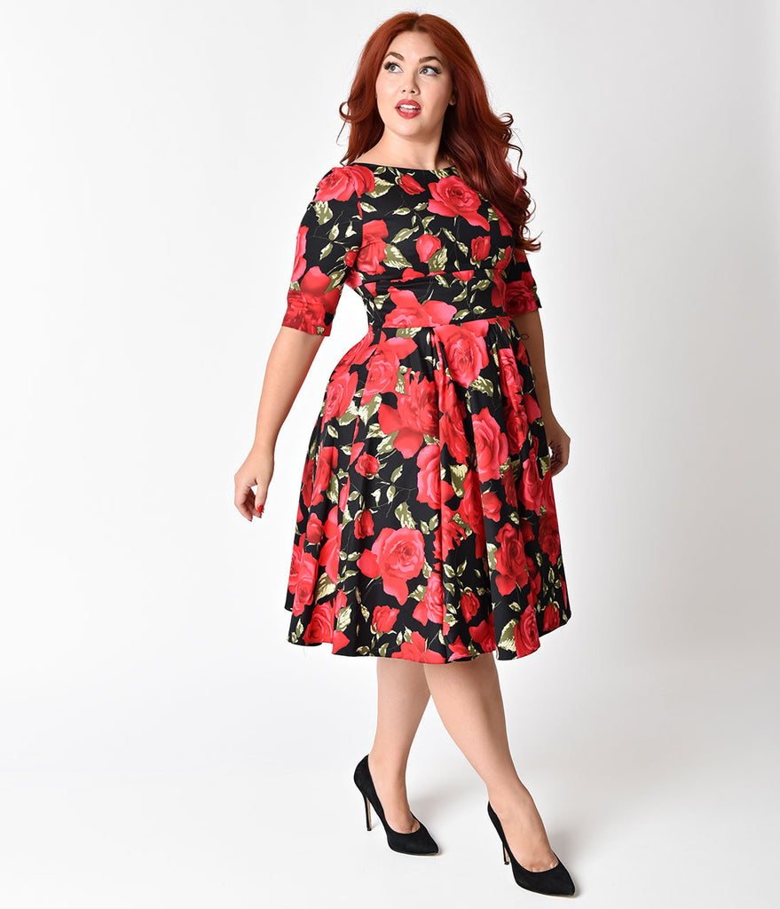 The Pretty Dress Company Plus Size Black & Red Sorrento Floral Hepburn Swing Dress