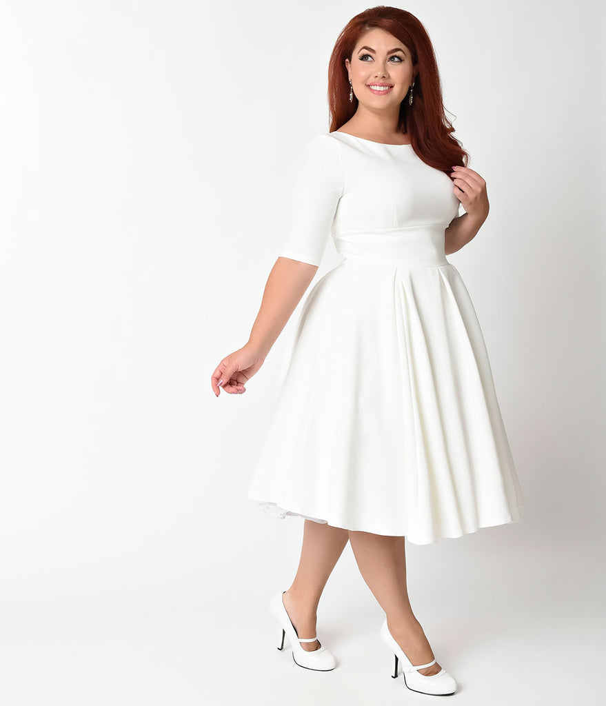 The Pretty Dress Company Plus Size Ivory Crepe Sleeved Hepburn Swing Dress